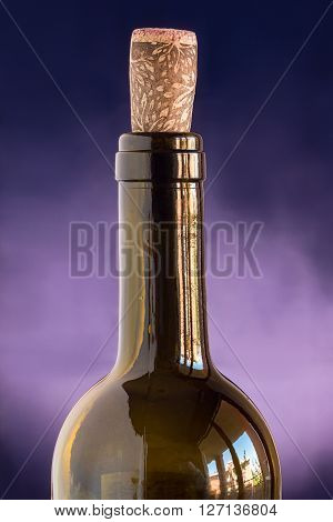a bottle of wine with cork stopper