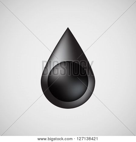 Black oil drop, bubble badge, realistic icon template with reflex and light background for logo, design concepts, internet sites, UI, applications, apps, presentations and prints. Vector illustration.