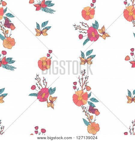 Floral Seamless Vintage Pattern With Wildflowers and Butterfly. Hand Drawn Vector Illustration