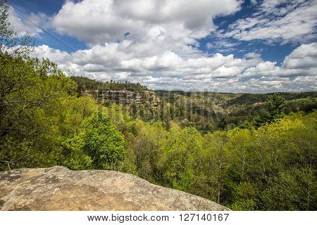 Lovers Leap In Kentucky. View of mountain top known as Lovers Leap as seen from the Natural Bridge in Natural Bridge State Park in Slade, Kentucky.