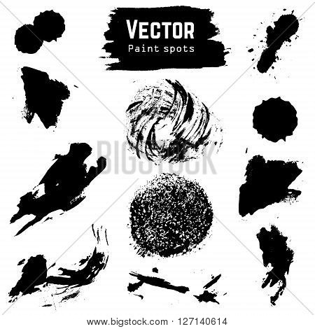 Set of vector paint spots. Grunge vector stains. Design elements in vector.