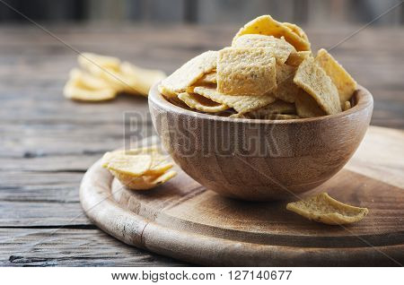 Traditional Mexican Chips On The Wooden Table