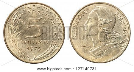 French coin of 5 centimes from the portrait of Marianne - set
