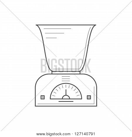 Kitchen scales with a deep bowl. Thin line scales icon. Kitchen appliance vector icon.