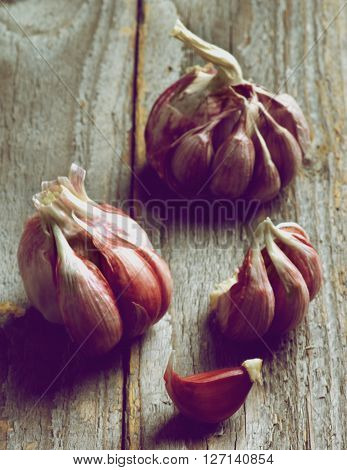 Fresh Raw Pink Garlic in Shadow closeup on Rustic Wooden background. Focus on Foreground