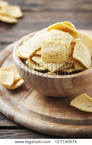Mexican Mais Chips On The Wooden Table