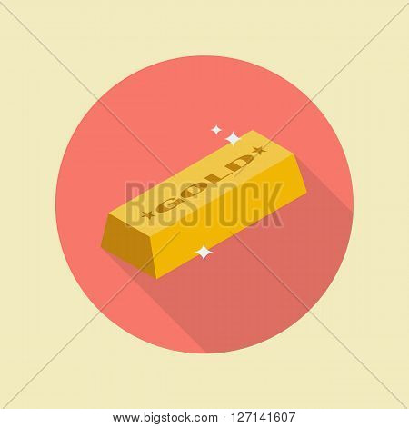 Gold ingot flat icon with long shadow