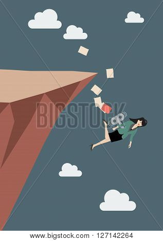 Mechanical business woman fall into the abyss. Business concept