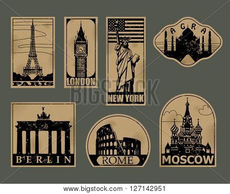 Vintage paper landmarks travel labels. Stickers of travel: Paris, London, New York, Moscow, Berlin, Rome, Agra. Contain the Clipping Path