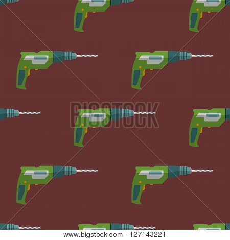 Vector Electric Drill Seamless Pattern.