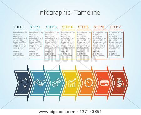 Template Timeline Infographic colored horizontal arrows numbered for seven position can be used for workflow banner diagram web design area chart