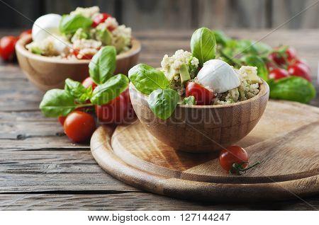 Healthy Salad With Quinoa, Tomato And Avocado