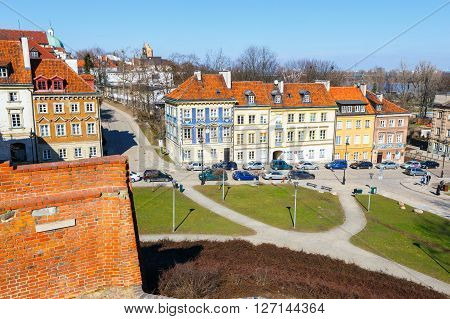 WARSAW POLAND 13 march 2016: Barbican and old town square in Warsaw in a sunny day. Warsaw is the capital of Poland