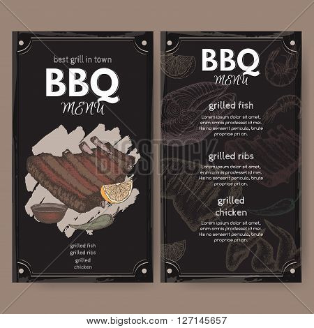 Barbecue restaurant menu template with color hand drawn sketch of grilled fish, ribs, chicken legs and wings. Placed on black background.