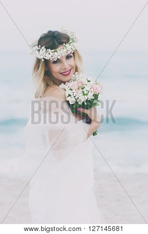Beautiful Blond Fiancee In White Wedding Dress