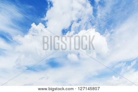 Blue Sky, White Clouds. Natural Background