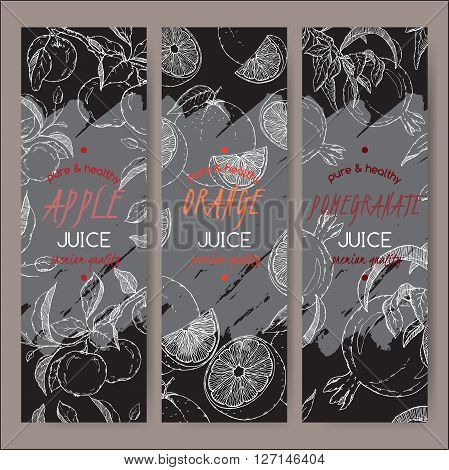 Set of 3 vector templates for apple, orange and pomegranate juice. Based on had drawn sketch. Great for packaging and advertising design.