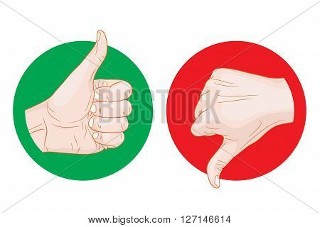 thumb up thumb down icon vector illustration