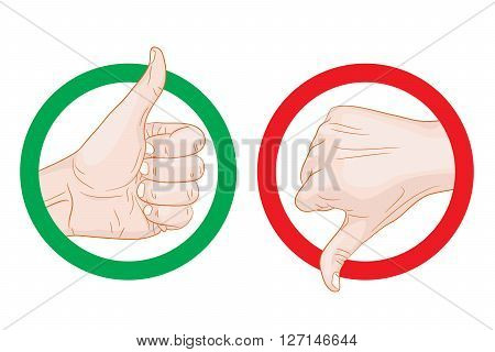 thumb up thumb down symbols vector illustration