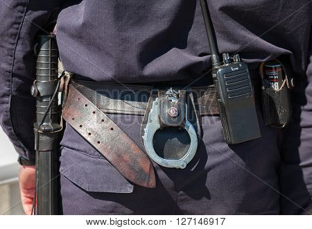 SAMARA RUSSIA - APRIL 24 2016: Equipment on the belt of Russian policeman