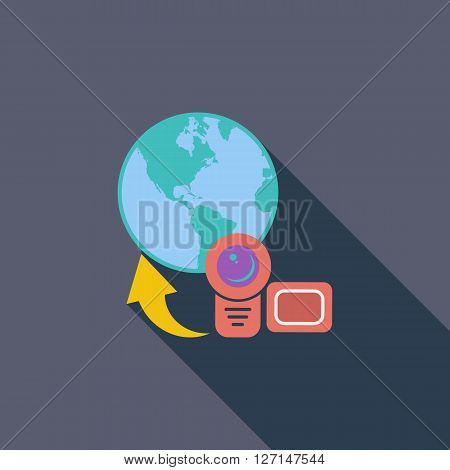 Upload video icon. Flat vector related icon with long shadow for web and mobile applications. It can be used as - logo, pictogram, icon, infographic element. Vector Illustration.