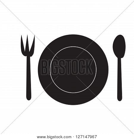 Fork Spoon and Dish silhouette doodle hand draw icon on white background