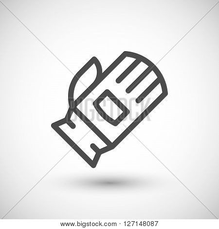 Protective glove line icon isolated on grey. Vector illustration