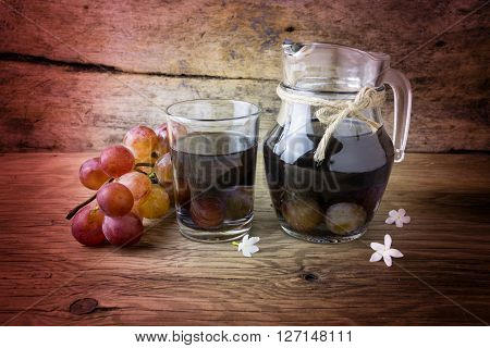 grape compote in a jar on a wooden table