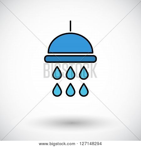 Shower. Flat icon on the white background for web and mobile applications. Vector illustration.