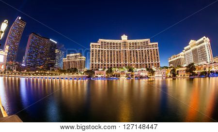 LAS VEGAS, NEVADA - SEPTEMBER 8, 2015: Exterior views of the Bellagio Casino on the strip on September 8, 2015. The Bellagio is a famous and popular luxury casino with a big lake in front of it.
