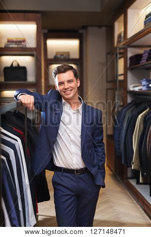 Smiling man in store
