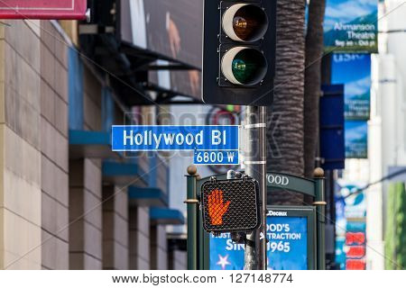 HOLLYWOOD, LOS ANGELES - SEPTEMBER 11, 2015: Views of the Walk of Fame and the Buildings at the Hollywood Boulevard on September 1:1 2015. This street is an icon for the Movie industry in Hollywood.