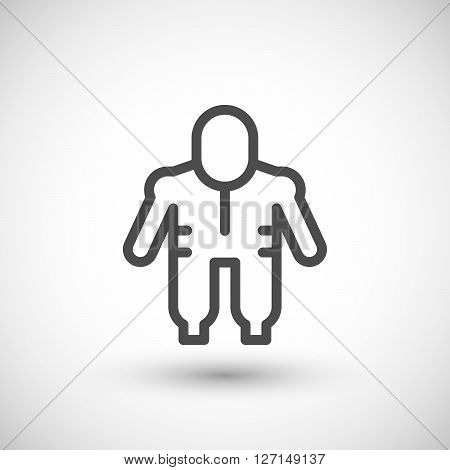 Protective safety overalls line icon isolated on grey. Vector illustration