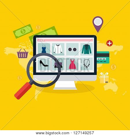 Set Of Flat Design Concept Online Shopping And E-commerce. Icons For Mobile Marketing. Vector Illust