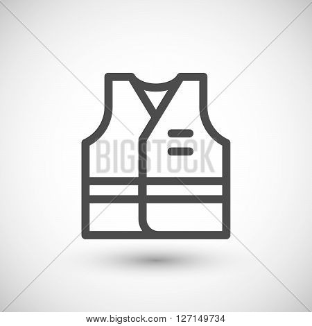 Working vest line icon isolated on grey. Vector illustration