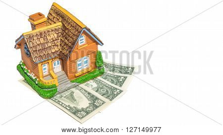 House toy on money bank notes in white backgound