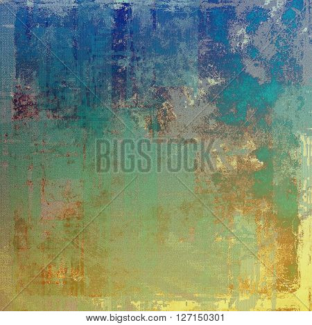 Colorful grunge texture or background with vintage style elements and different color patterns: yellow (beige); brown; green; blue; gray; cyan