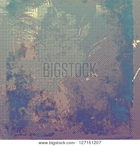 Grunge texture, aged or old style background with retro design elements and different color patterns: brown; blue; gray; purple (violet); cyan