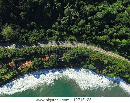 Top View of Highway in a Coastline Landscape