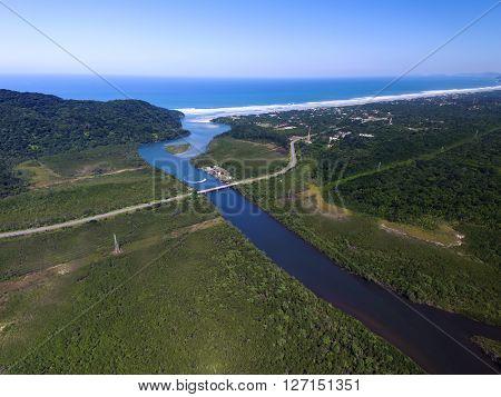 Aerial View of Mogi Bertioga road in Sao Paulo, Brazil