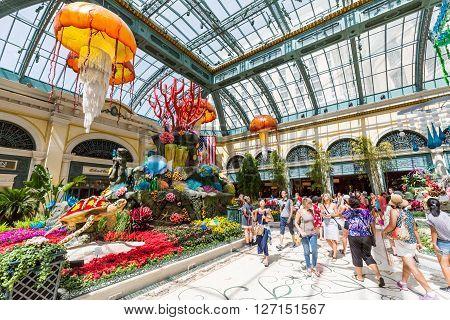 LAS VEGAS, NEVADA - SEPTEMBER 9, 2015: Interior views of the Bellagio Casino Resort on the Las Vegas Strip on September 9 2015. The Bellagio Casino Resort is a famous and popular luxury casino in Vegas.