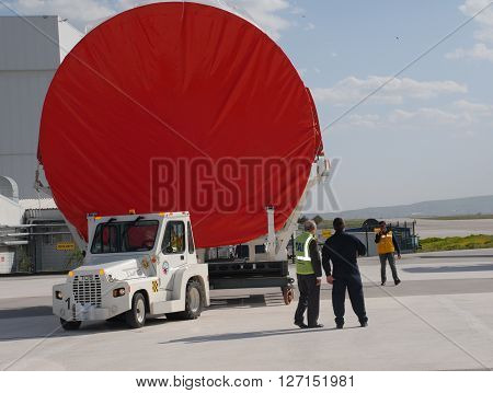 ANKARA/TURKEY- APRIL 29, 2015: Main fuselage barrel of Airbus Military A400m aircraft at the Turkish Aerospace Industry-TAI's apron. April 29, 2015-Ankara/Turkey