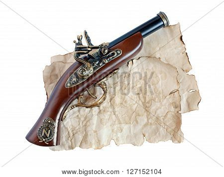 Beautiful Old Musket Or Pistol And Paper