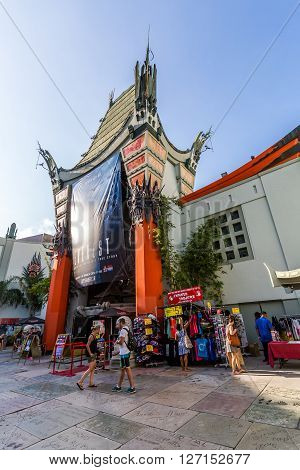 HOLLYWOOD, LOS ANGELES - SEPTEMBER 11, 2015: Views of the Walk of Fame and the Buildings at the Hollywood Boulevard on September 11, 2015. This street is an icon for the Movie industry in Hollywood.