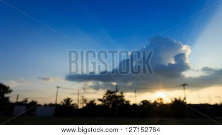 Image Blur Background, Beautiful Sun Light On Clear Blue Sky