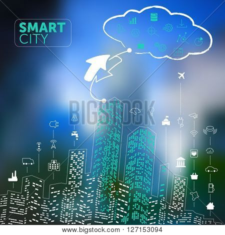 Smart City Concept on Blurred Blue Background
