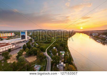 BRATISLAVA, SLOVAKIA - APRIL 22, 2016: Bird's eye view of river Danube in Bratislava, Slovakia on April 22, 2016.