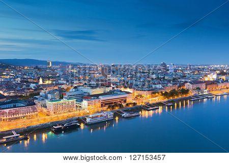 BRATISLAVA, SLOVAKIA - APRIL 22, 2016: View of Bratislava and river Danube, Slovakia on April 22, 2016.