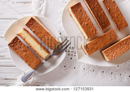 Castella Japanese Cake On A Plate Closeup. Horizontal View From Above