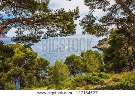 National Park Calanques on the Mediterranean coast. The picturesque gulf - Calanque with rocky steep banks and turquoise water